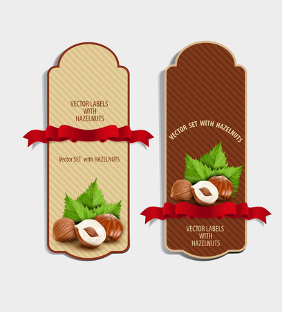 nut: Vector set of vertical labels with hazelnuts and red ribbon (design element) Illustration