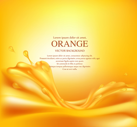 Vector juicy orange background with splashes of juice Illustration