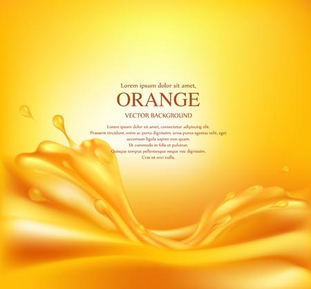 Vector juicy orange background with splashes of juice Illustration