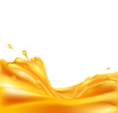 juicy vector background with splashes of orange juice on a white background