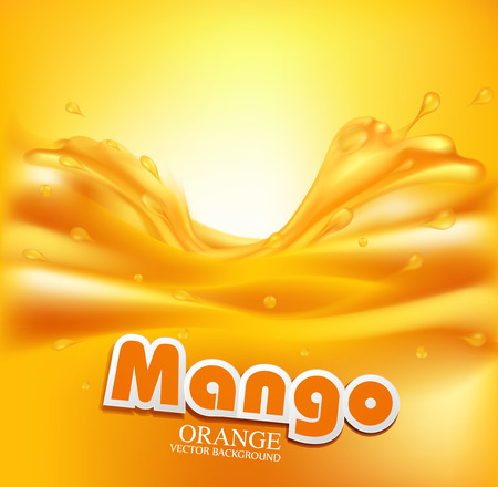 naranja fruta: vector de fondo jugosa con salpicaduras de jugo de naranja Vectores