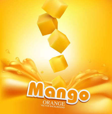 the juice: Vector juicy mango slices falling into the fresh juice
