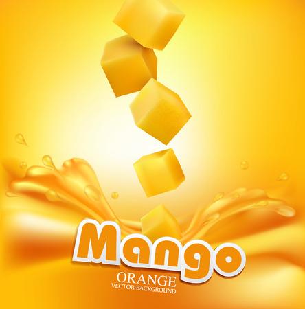 verre de jus d orange: Vector mangue juteuse tranches tombant dans le jus frais