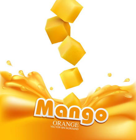 Vector juicy mango slices falling into fresh juice (isolated on white background)