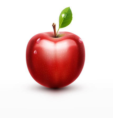 apple isolated: vector red apple with green leaf isolated on a white background