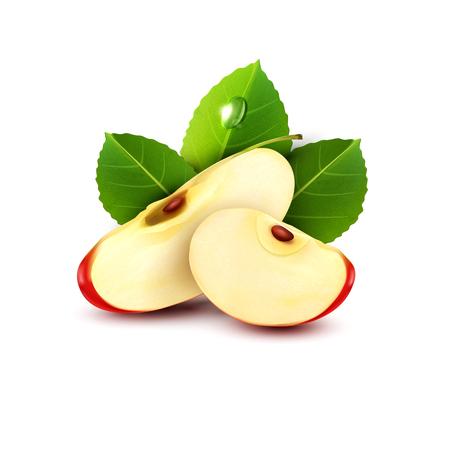 manzana roja: vector dos rebanadas de manzana roja con hoja verde aislado en un fondo blanco Vectores