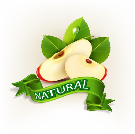 jugo de frutas: vector dos rebanadas de manzana roja con hojas verdes y cintas verdes aisladas sobre fondo blanco