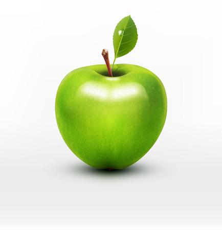apfel: vector grüner Apfel mit grünem Blatt isoliert auf einem weißen Hintergrund Illustration