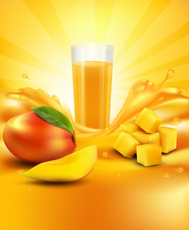 fruit drink: vector background with mango, a glass of juice, slices of mango