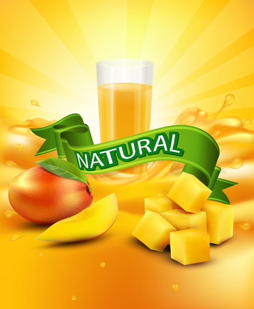 fruit drink: vector background with mango, a glass of juice, slices of mango, green ribbon