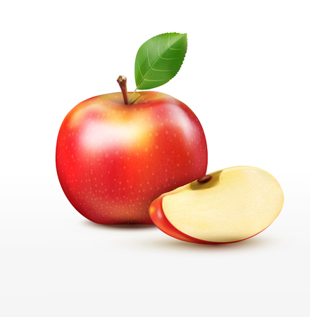 apple isolated: vector ruddy apple with apple slices, isolated on a white background Illustration