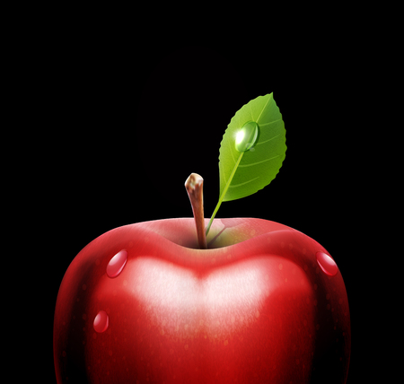pomme rouge: vecteur pomme rouge, close-up, avec des gouttes sur fond noir