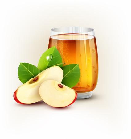 흰색 배경에 애플의 조각 사과 주스의 벡터 컵 유리
