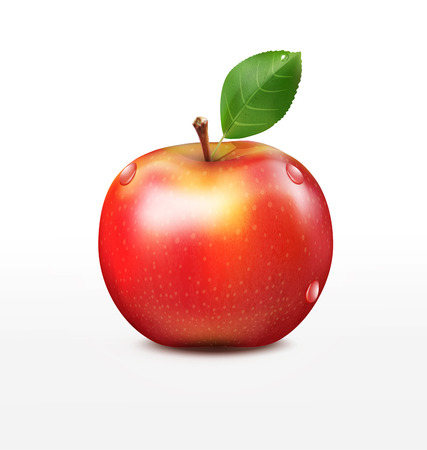 apple isolated: vector ruddy apple with green leaf isolated on a white background Illustration