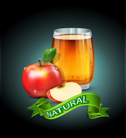 vaso de jugo: vector taza vaso de jugo de manzana con rodajas de manzana y la cinta verde