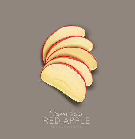 vector red apple slices isolated