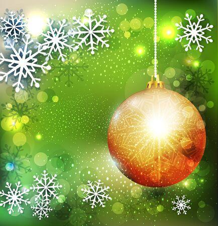 golden ball: Vector Christmas green background with golden ball Illustration
