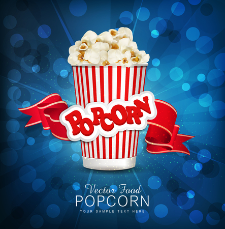 theater popcorn: vector box with popcorn on a blue background with a bright red ribbon.