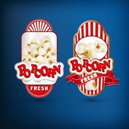 popcorn: Vector set of labels for popcorn Illustration