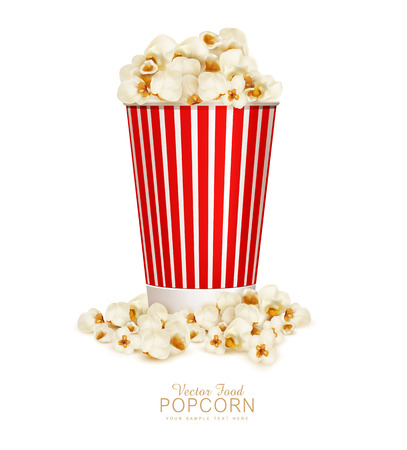 movie and popcorn: vector popcorn in striped bucket  isolated on white background