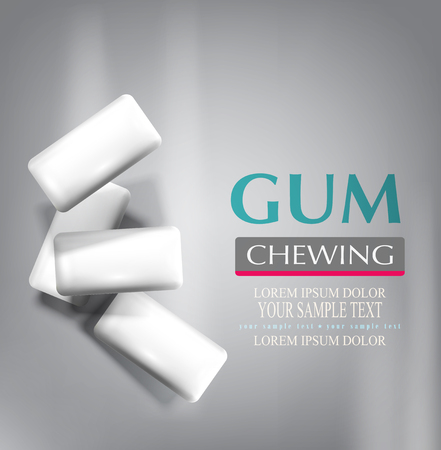 chew: vector chewing gum isolated on a gray background (imitation 3d)