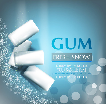 vector background with bubble gum on gray-blue background with snowflakes (imitation 3d Illustration