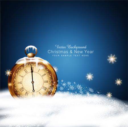 Fondo del vector de la Navidad con los relojes antiguos, nieve, copos de nieve y las ventiscas de nieve Ilustración de vector