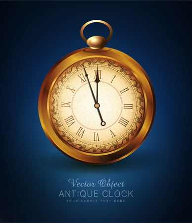 vector vintage pocket watch on a blue background Stock fotó - 48545113
