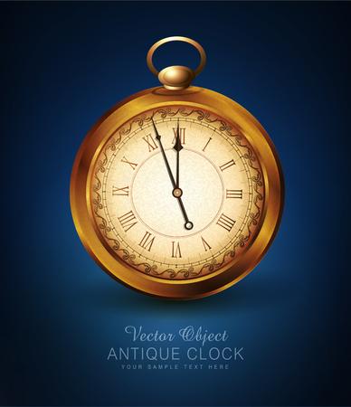 vector vintage pocket watch on a blue background