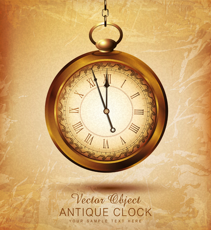 vector vintage pocket watch on an old grunge background