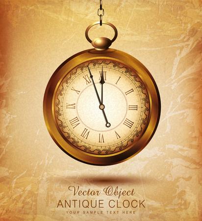 orologi antichi: vettore orologio da tasca d'epoca su una vecchia grunge Vettoriali