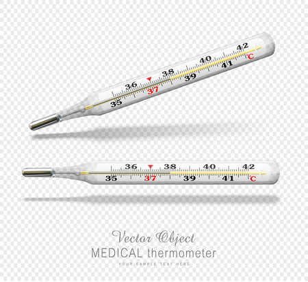 sick malady: Vector medical thermometer. isolated object on a transparent background. design element
