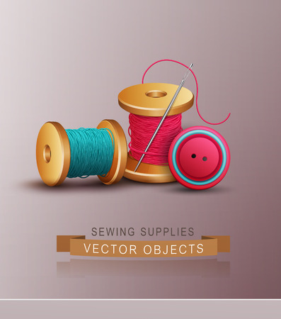 threads: vector background with sewing accessories ( thread, spools, needle and buttons)