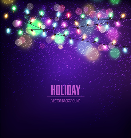 string: Vector festive background of luminous garlands of lights in the rain