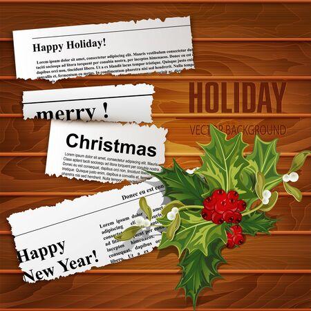oude krant: Vector creatieve, christmas achtergrond (stukjes krantenartikelen met felicitaties en hulst) Stock Illustratie
