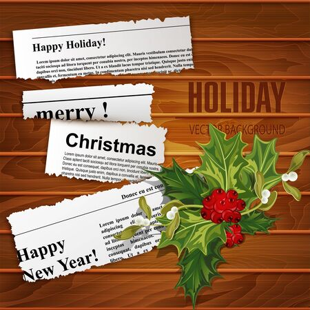newspaper headline: Vector creative, christmas background (scraps of newspaper articles with congratulations and holly) Illustration
