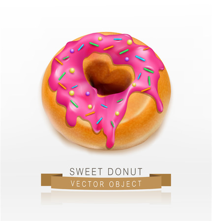 dough nut: Vector one  donut glazed with pink caramel sprinkles (element for design) Illustration