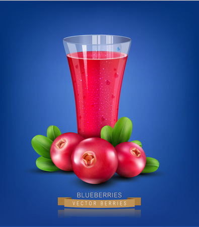glass cup: Vector glass cup with juice of cranberries on a blue background