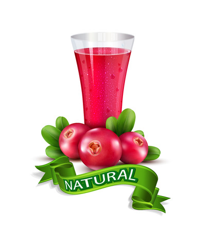 cranberries: Vector glass cup with juice of cranberries Illustration