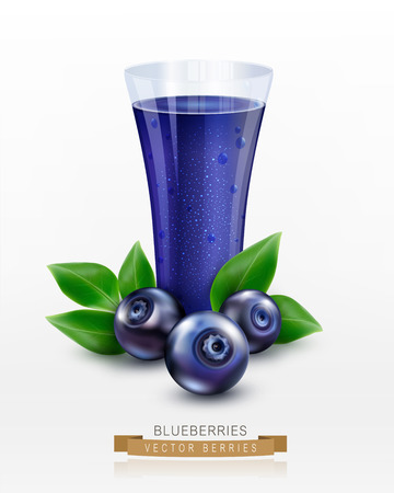 cowberry: Vector glass cup with juice of blueberries isolated on white background