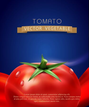 tomatoes: vector background with splashes, waves of red tomato juice and tomato. isolated on blue background
