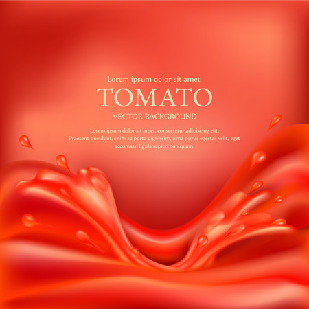label design: vector background with splashes, waves of red tomato juice