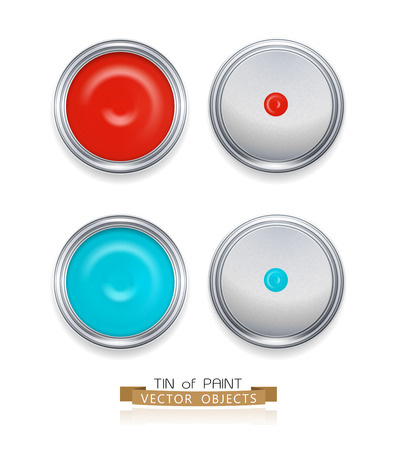 paint cans isolated on white background (top view) Illustration