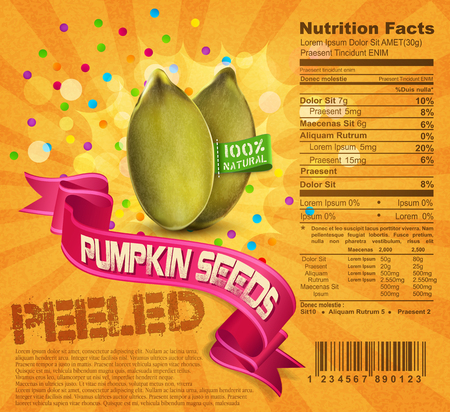 pumpkin seeds: vector banner label (element for design), pumpkin seeds on an orange background with ribbon