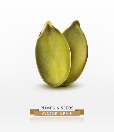 pumpkin seeds (peeled) isolated on white background