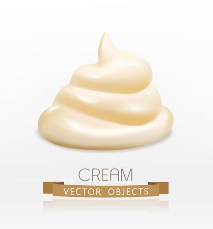 handful: handful cream (mayonnaise) swirl, isolated on white background Illustration