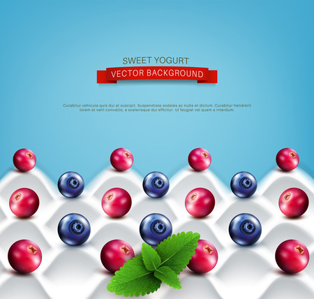 cranberries: template:  wave yogurt with berries (cranberries, blueberries) and mint leaves on a blue background