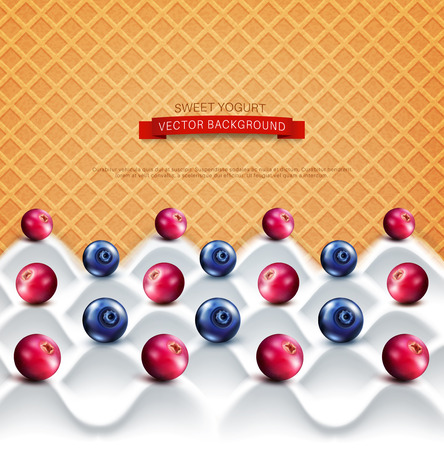 cranberries: vector  template:  wave yogurt with berries (cranberries, blueberries)  on a background of sweet waffles