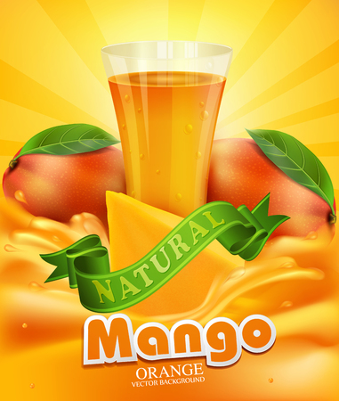 mangoes: vector background with mango, a glass of juice, slices of mango