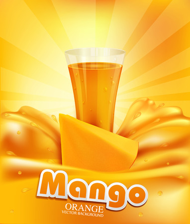 pouring: vector background with mango, a glass of juice, slices of mango